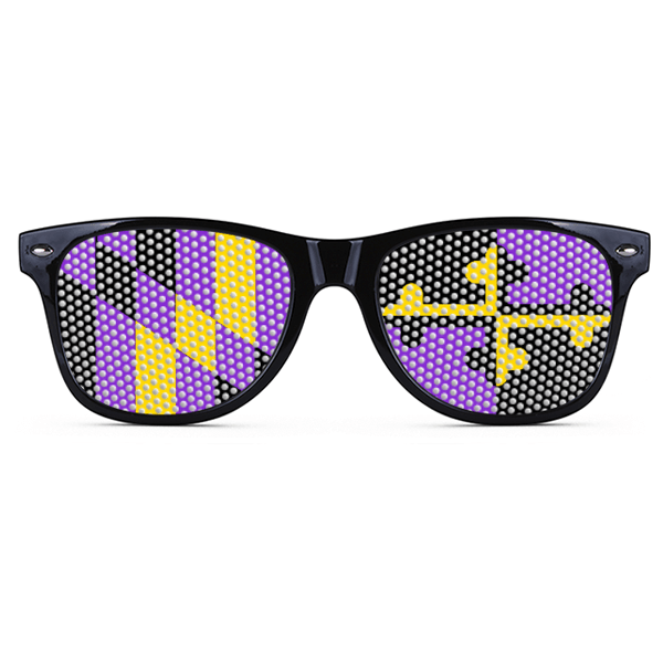 Baltimore Football Purple & Gold Maryland LOGO Lenses (Black) / Sunglasses - Route One Apparel