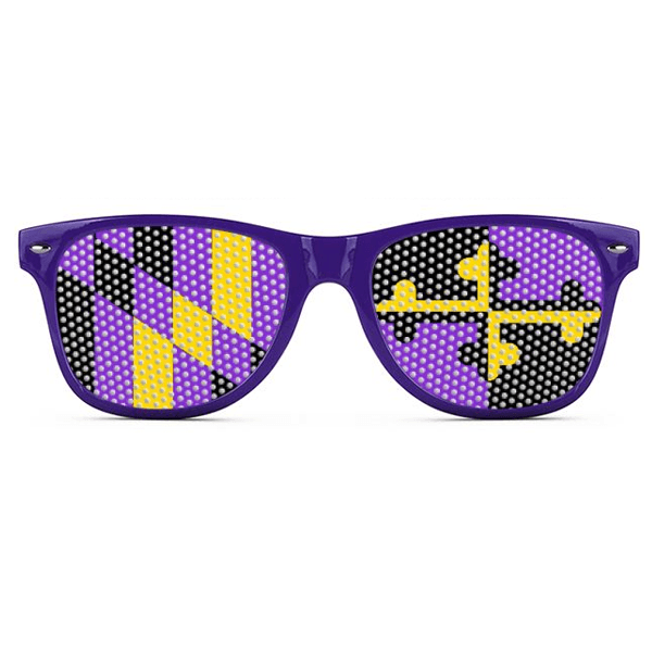 Baltimore Football Purple & Gold Maryland LOGO Lenses (Purple) / Sunglasses - Route One Apparel