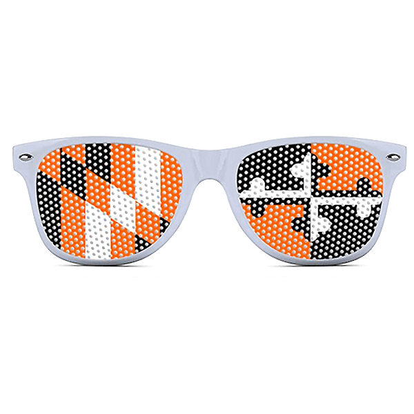 Baltimore Baseball Black & Orange Maryland LOGO Lenses (White) / Sunglasses - Route One Apparel