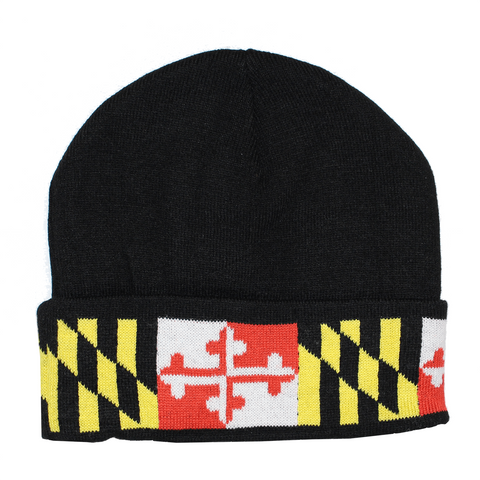 Maryland Flag (Black) / Knit Beanie Cap