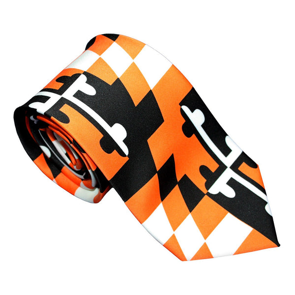 Baltimore Baseball Orange and Black Maryland Flag / Tie