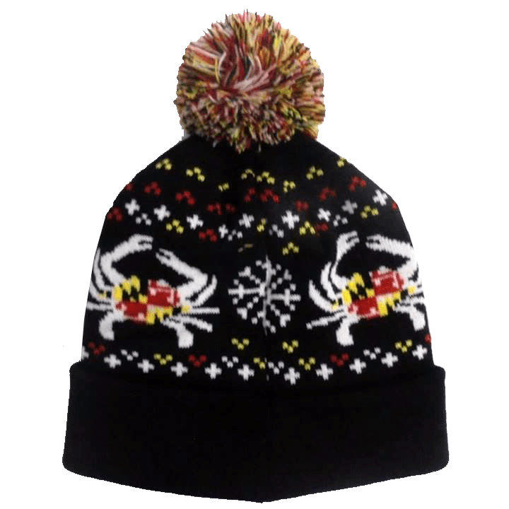 Maryland Flag Crab (Black) / Knit Beanie Cap