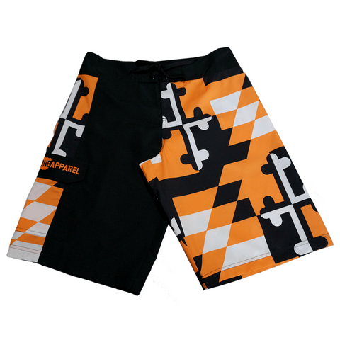 Baltimore Baseball Black & Orange Maryland Flag / Board Shorts - Route One Apparel