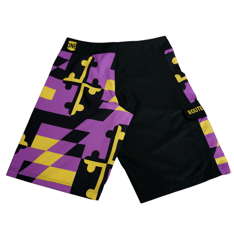 Baltimore Football Purple & Gold Maryland Flag / Board Shorts
