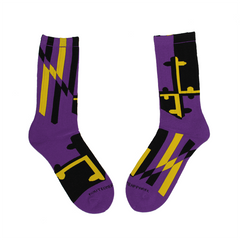 Baltimore Purple & Gold Maryland Flag / Crew Socks - Route One Apparel