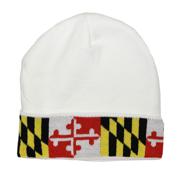 Maryland Flag (White) / Knit Beanie Cap