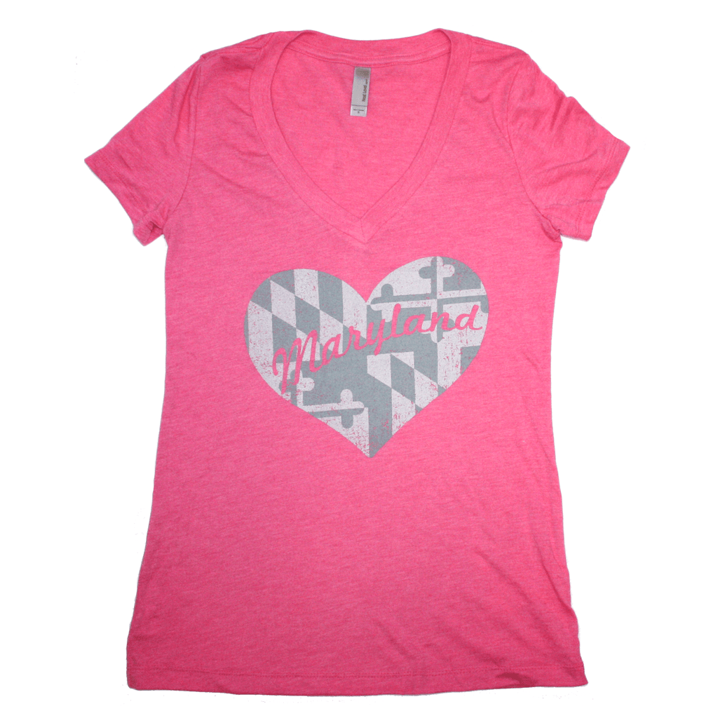 Maryland in My Heart (Pink) / Ladies Deep V-Neck Shirt