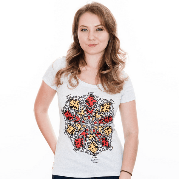 Maryland Mandala (Heather White) / Ladies Scoop Neck Shirt