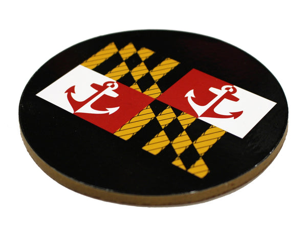 Maryland Nautical Flag (Black) / Cork Coaster