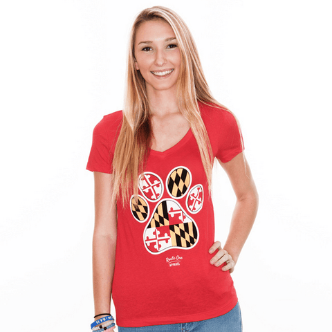 Maryland Paw Print (Red) / Ladies V-Neck Shirt