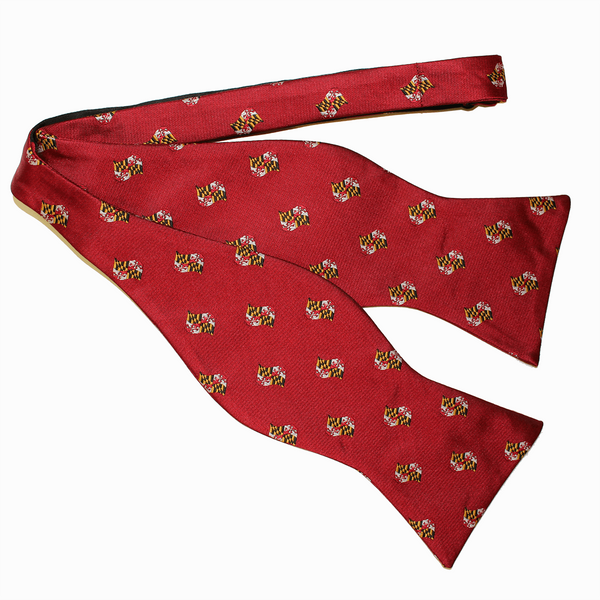 Embroidered Waving Maryland Flag (Red) / Self-Tie Bowtie