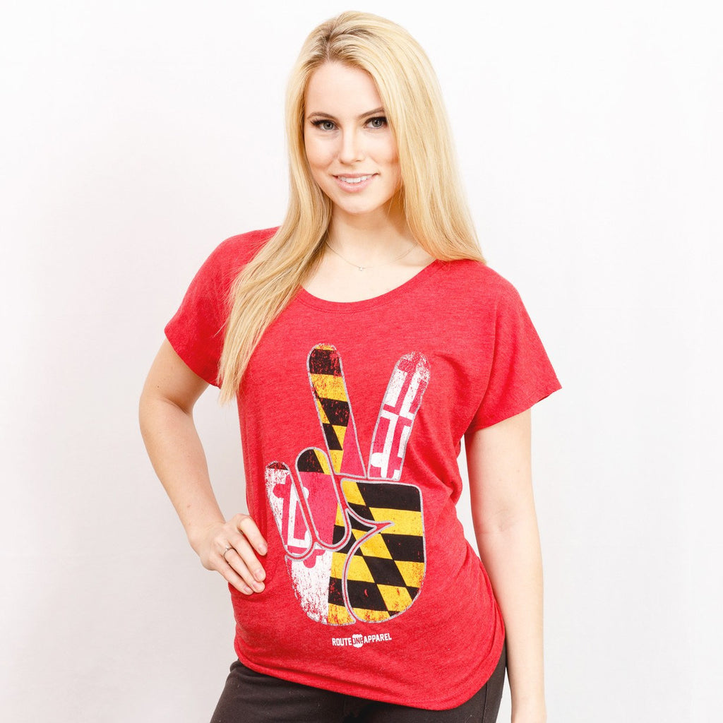 Maryland Peace (Red) / Ladies Dolman Shirt