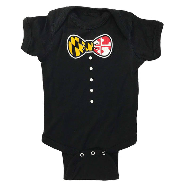 Maryland Bow Tie (Black) / Baby Onesie