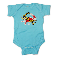 Maryland Full Flag Crab (Teal) / Baby Onesie