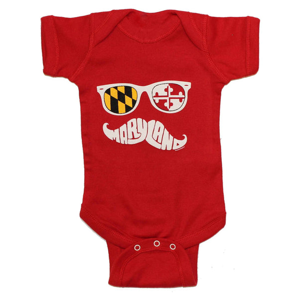 Maryland Mustache (Red) / Baby Onesie