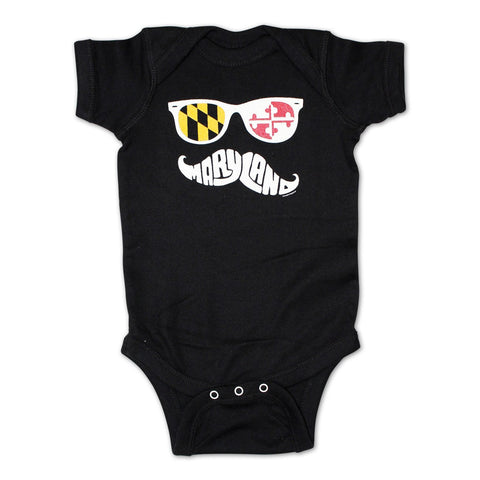 Maryland Mustache (Black) / Baby Onesie
