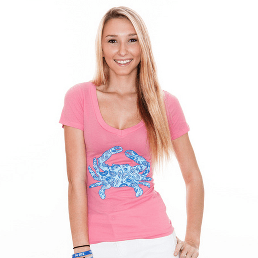 Paisley Crab (Hot Pink) / Ladies V-Neck Shirt