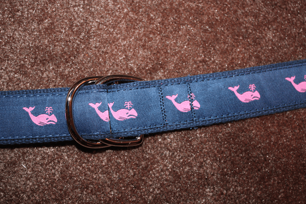 Pink Whale on Navy / Belt