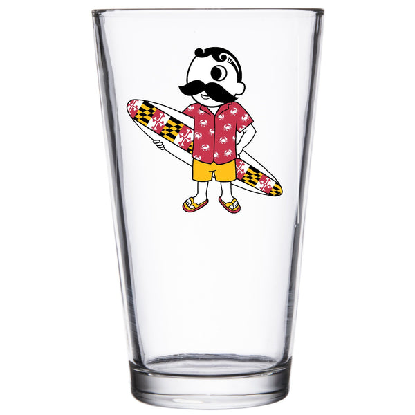 *PRE-ORDER* Natty Boh Surfer Dude / Pint Glass (Estimated Arrival: 5/19) - Route One Apparel