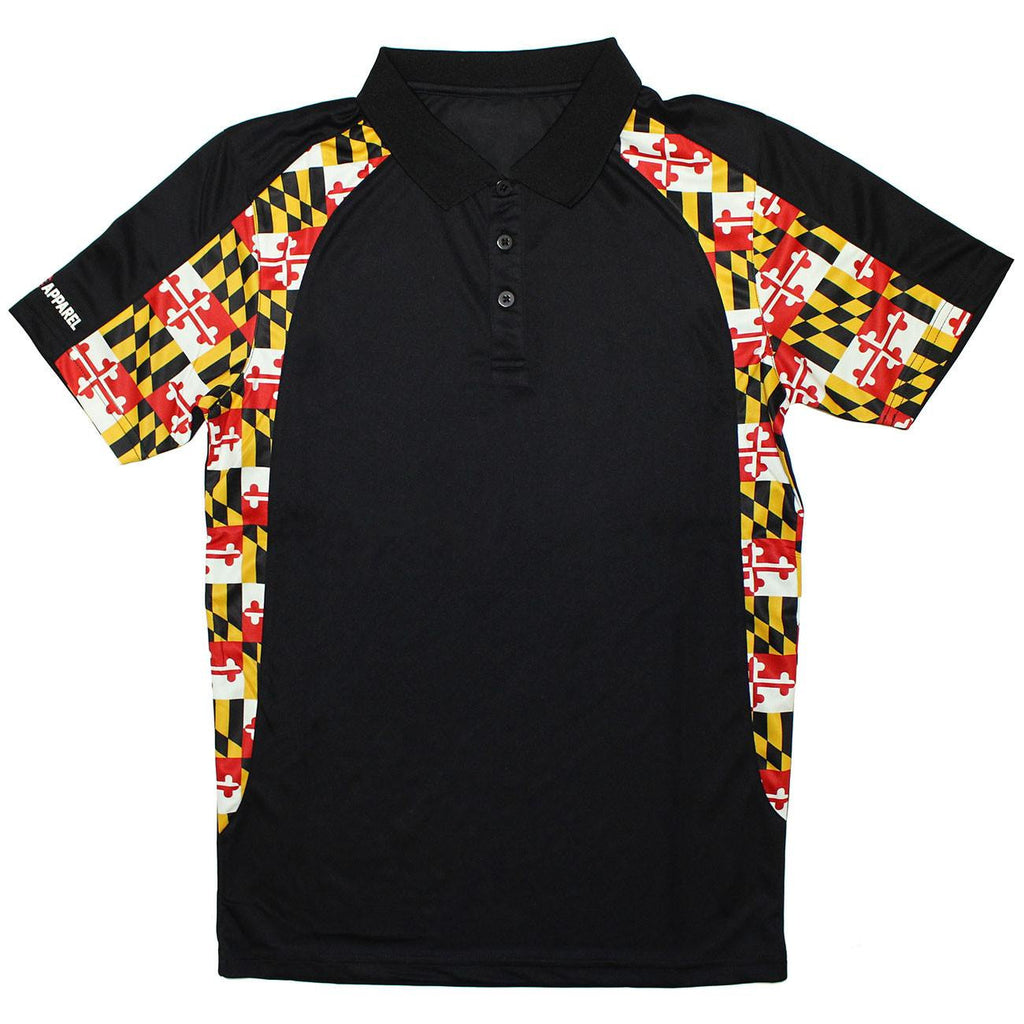 Maryland Flag Side Pattern (Black) / Polo