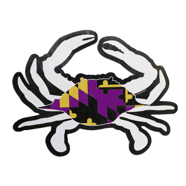 Purple & Gold Maryland Crab Flag / Outline Sticker