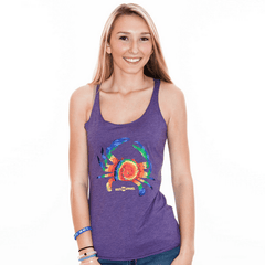 Rainbow Tie Dye Crab (Purple) / Ladies Racerback Tank