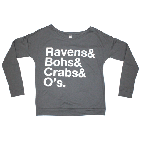 Ravens & Bohs & Crabs & O's Helvetica (Grey) / Ladies Off the Shoulder Long Sleeve Shirt