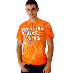 Ravens & Bohs & Crabs & O's Helvetica / Shirt (Orange Swirl)
