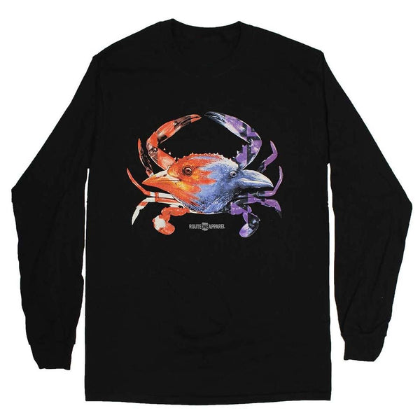 Baltimore Birds Crab (Black) / Long Sleeve Shirt - Route One Apparel