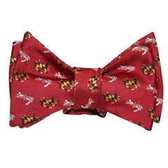 Embroidered Maryland Flag Crab (Red) / Self-Tie Bowtie