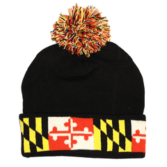 Maryland Flag (Black) / Knit Beanie Cap w/ Pom-Pom