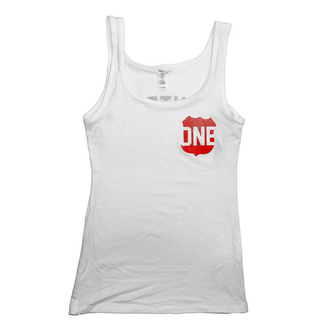 Route One Apparel Classic Flag & Crab (White) / Ladies Tank