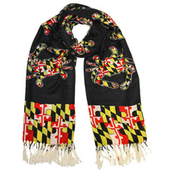 Maryland Flag Crab Puzzle Piece (Black) / Scarf