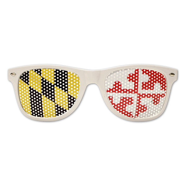 White Maryland Flag LOGO Lenses / Sunglasses