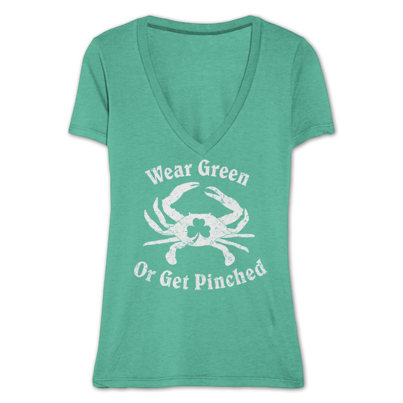 Wear Green Or Get Pinched / Ladies Sporty V-Neck Shirt