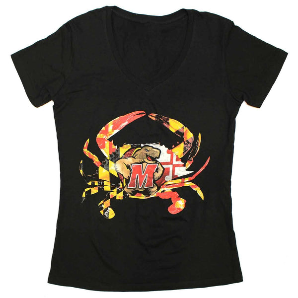 Maryland Terps Crab (Black) / Ladies V-Neck Shirt