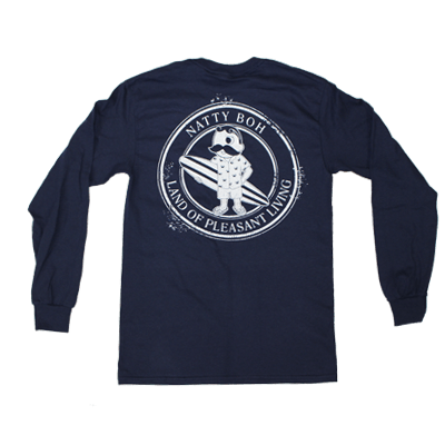 Natty Boh Surfer Dude Land of Pleasant Living (True Navy) / Long Sleeve Shirt