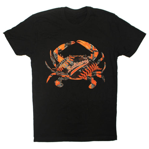 Baseball Home Team Crab *Front Print* (Black) / Shirt - Route One Apparel