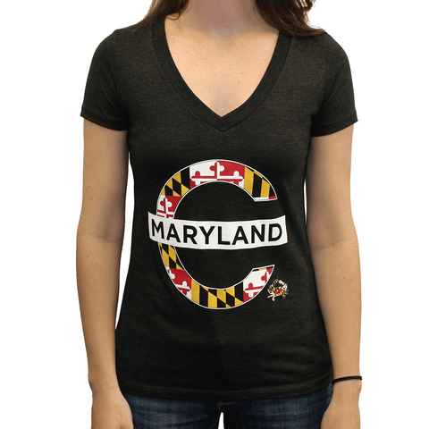 Mind The Gap Maryland (Vintage Black) / Ladies V-Neck Shirt