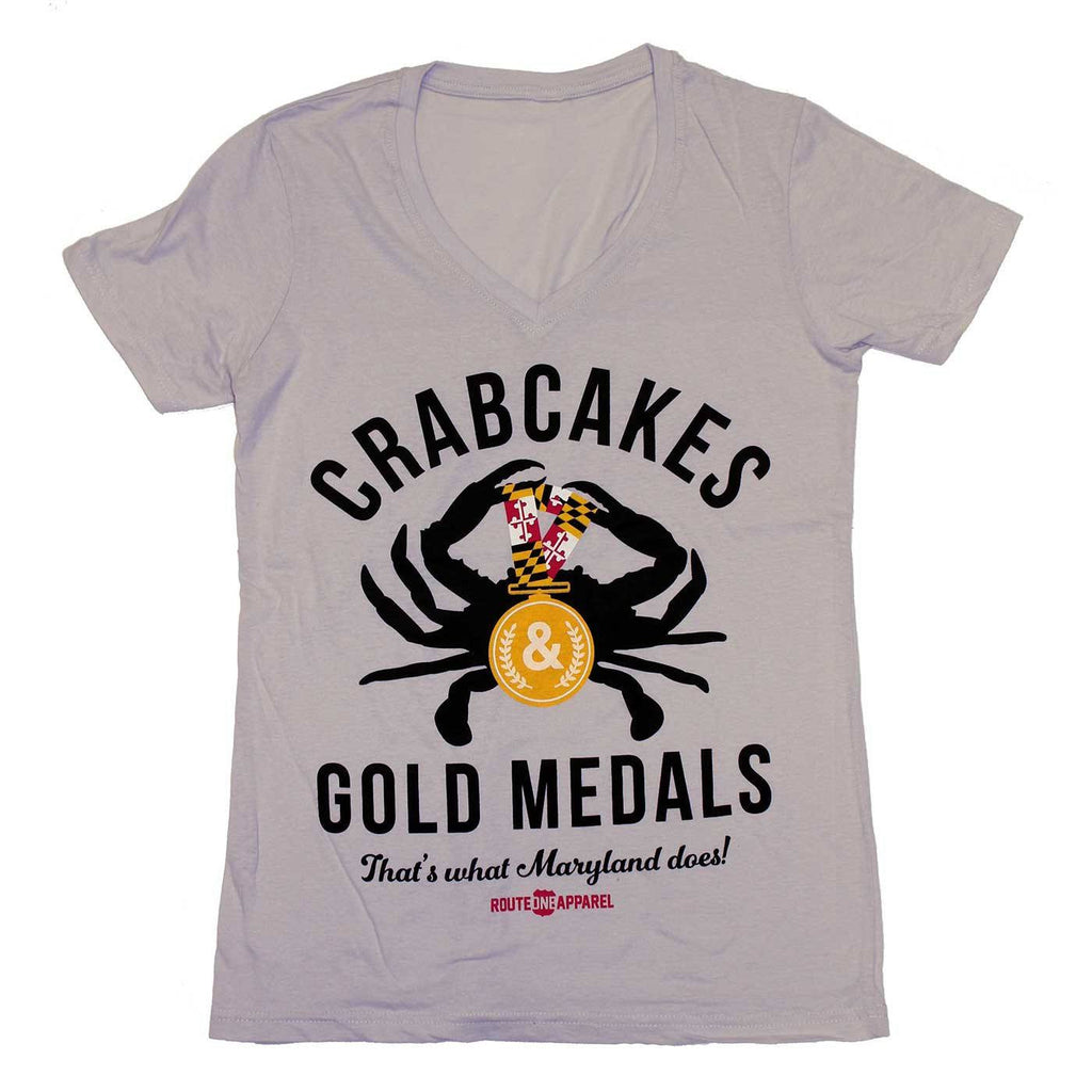 Crabcakes & Gold Medals (Ash White) / Ladies V-Neck Shirt - Route One Apparel