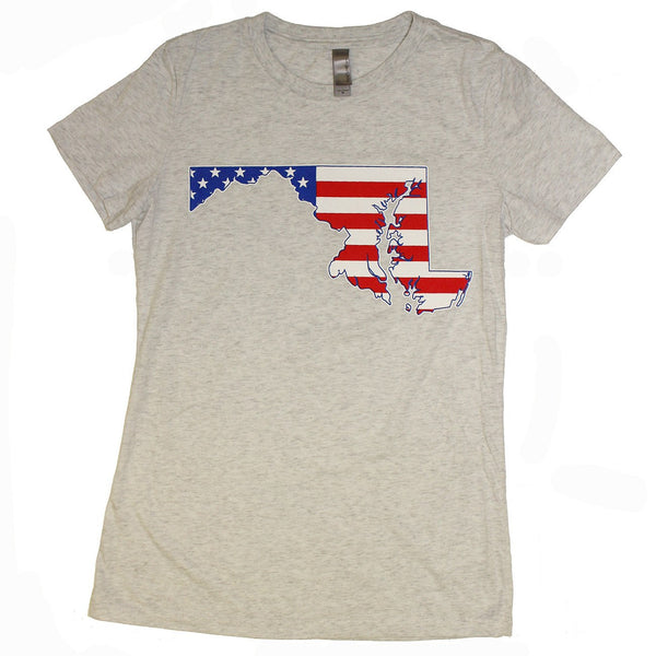 American State of Maryland (Heather Grey) / Ladies Shirt - Route One Apparel