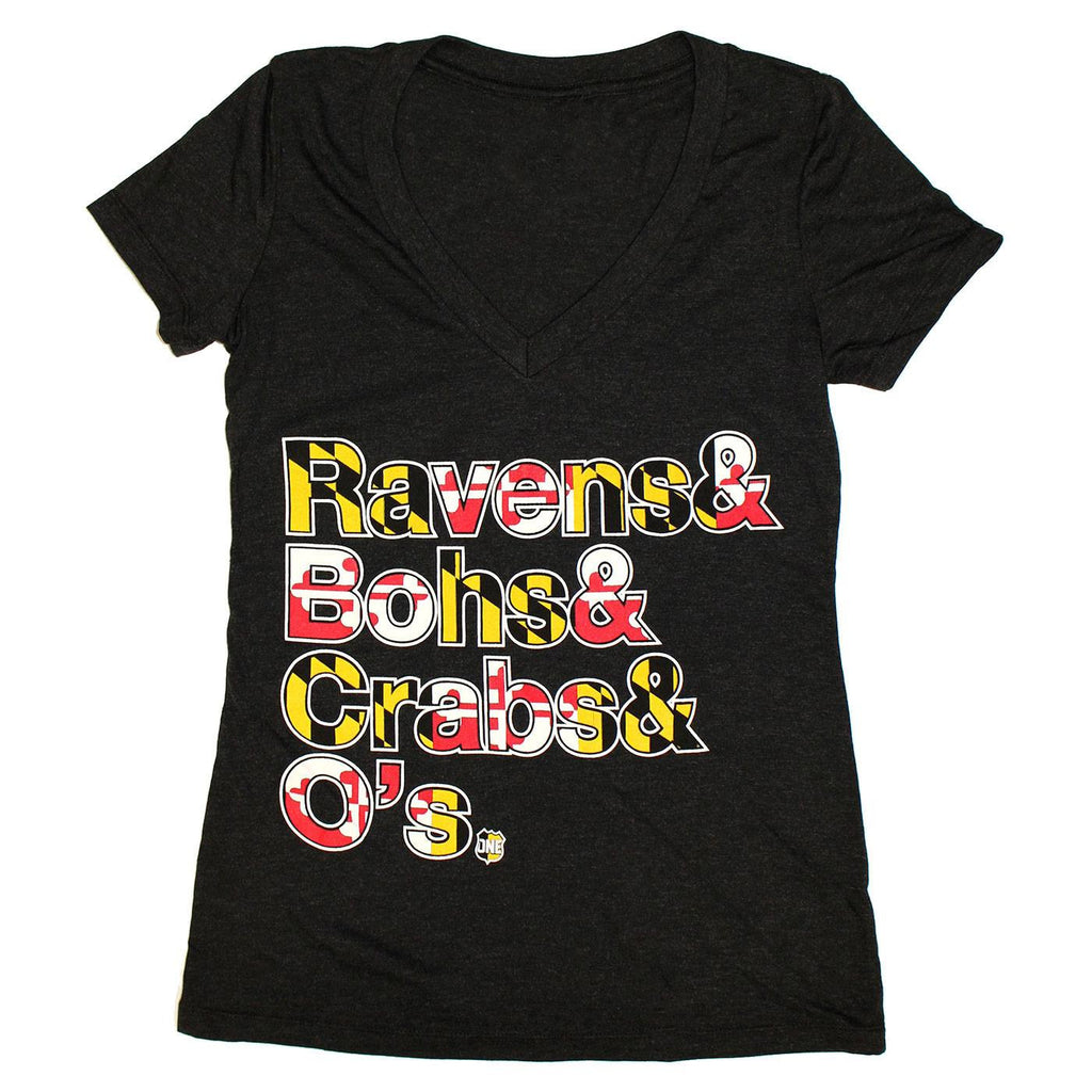 Ravens & Bohs & Crabs & O's Helvetica *With Maryland Flag* (Black) / Ladies V-Neck Shirt