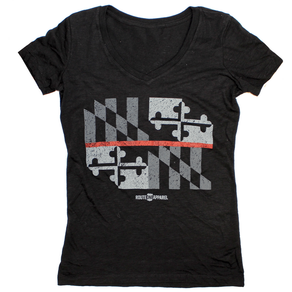 Maryland Flag Red Line (Black) / Ladies Sporty V-Neck Shirt
