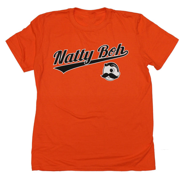 Natty Boh Baseball Font with Boh Logo (Orange) / Shirt