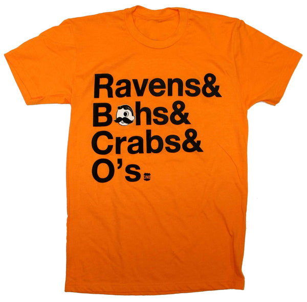 Ravens & Bohs & Crabs & O's Helvetica *With Natty Boh Logo* (Orange) / Shirt