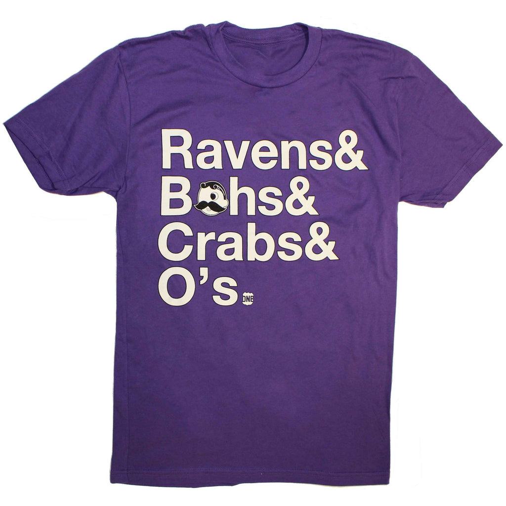 Ravens & Bohs & Crabs & O's Helvetica *With Natty Boh Logo* (Purple) / Shirt