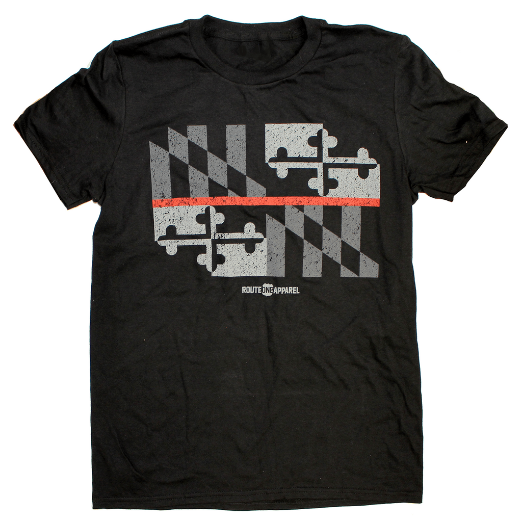 Maryland Flag Red Line (Black) / Shirt