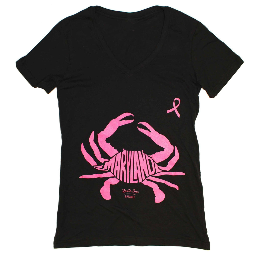 Maryland in Maryland Crab *Pink Edition* (Black) / Ladies V-Neck Shirt