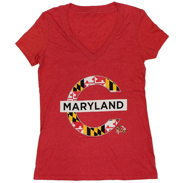 Mind The Gap Maryland (Red) / Ladies V-Neck Shirt