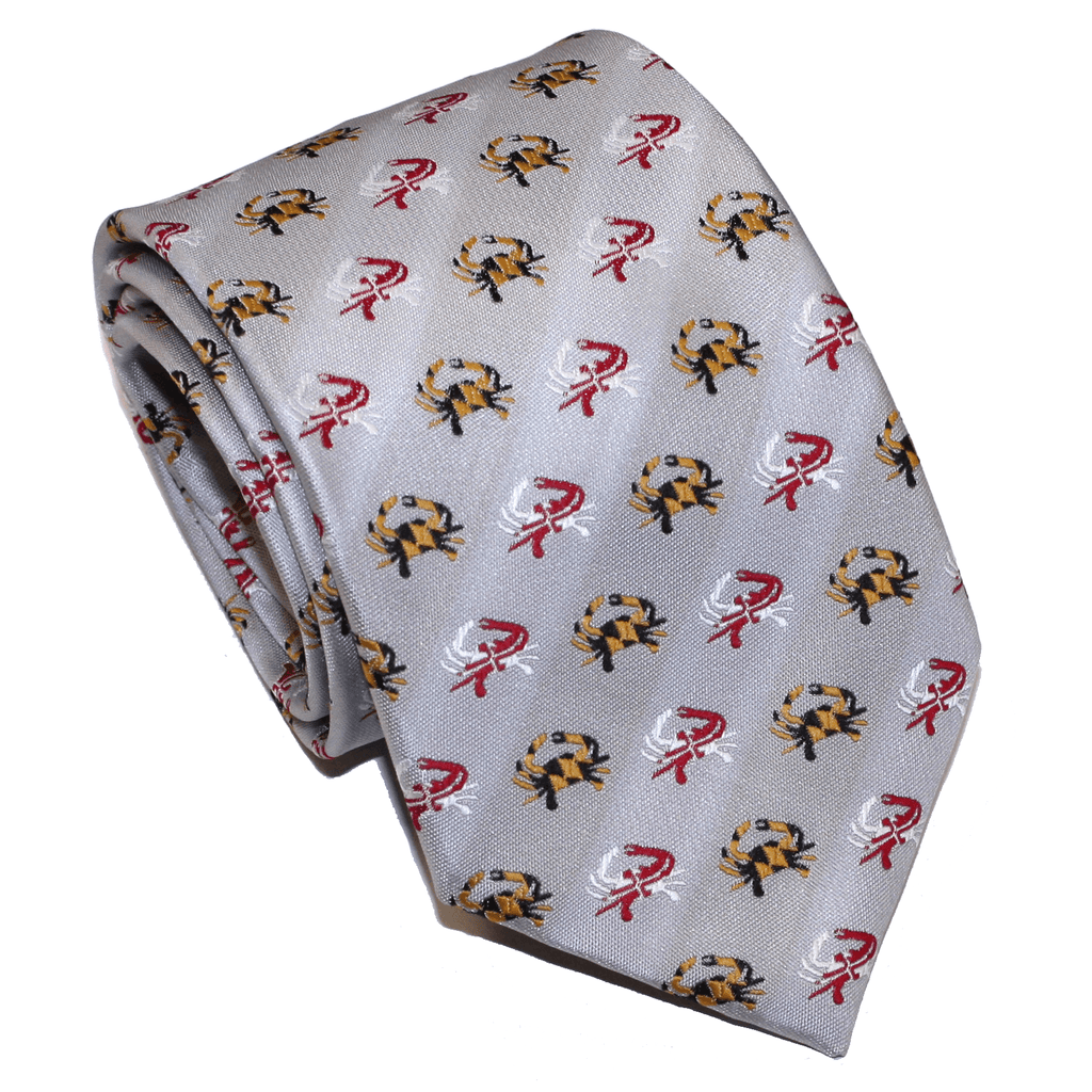 Embroidered Maryland Flag Crab (Silver) / Tie
